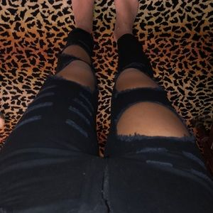 Ripped high waisted black jeans size 26